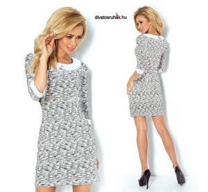 5ffdd93271 Csinos 3/4-es ujjú, fehér galléros és mandzsettájú ruha fehér színben,  fekete zebra csíkos mintával S-XL méretekben.